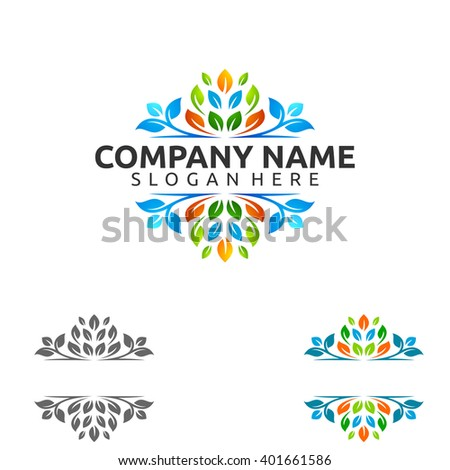 Natural green tree of ecology leaf logo template - stock vector
