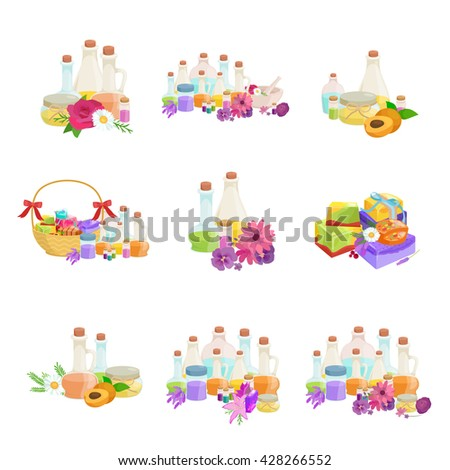 natural handmade organic soap bar for spa and body care with herb and aroma oil. Homemade soap icons vector set illustration.Beauty aromatherapy oil and body hygiene with natural cosmetics for bath - stock vector