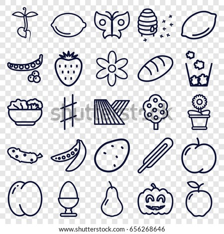 Natural icons set. set of 25 natural outline icons such as field, potato, apple, pear, peach, peas, tree, lemon, bread, flower, cucumber, flower pot, honeycomb, sprout