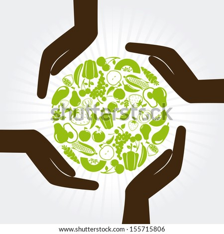 natural label over white background vector illustration - stock vector