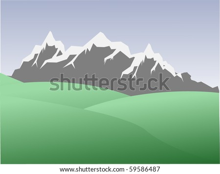 natural landscape high  mountains - stock vector