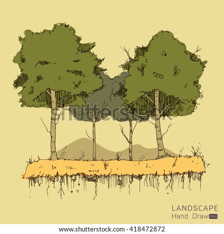 Natural landscape in Hand drawn style. a beautiful park.Environmentally friendly natural landscape.Vector illustration