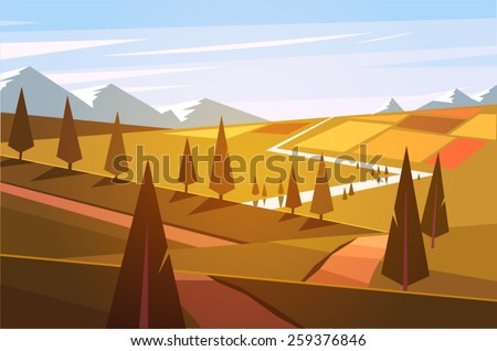 Natural landscape. Vector illustration. - stock vector