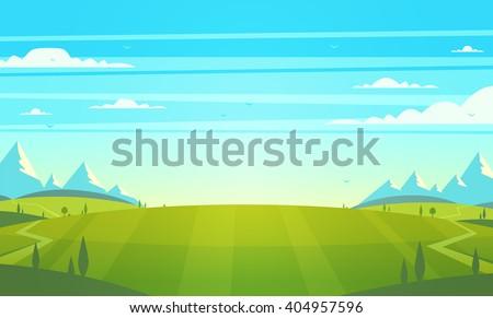 Natural landscape. Vector illustration. - stock vector