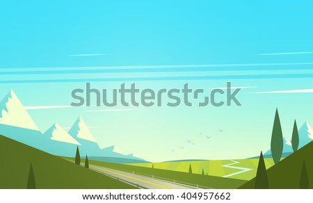 Natural landscape with mountains. Vector illustration. - stock vector