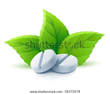 natural medical pills with green leaves vector illustration, isolated on white background - stock vector