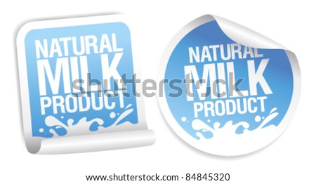 Natural milk product stickers. - stock vector