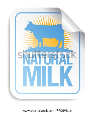 Natural milk sticker with cow.
