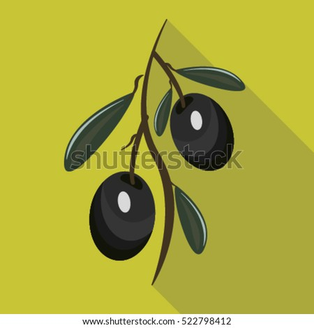 Natural olives flat icon with long shadow isolated vector illustration for design organic cosmetic, health food