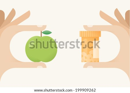 Natural or chemical? Healthy food with vitamins or medical nutrients? Idea - Healthy food, Vitamin pills, Alternative medicine, Vegetarianism etc. - stock vector