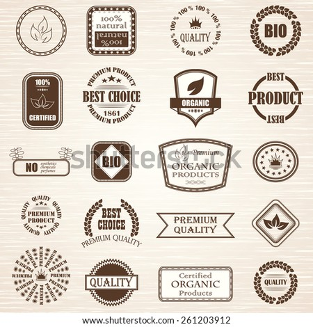 Natural organic product labels, emblems and badges. Premium quality labels. Vector set of design elements        - stock vector