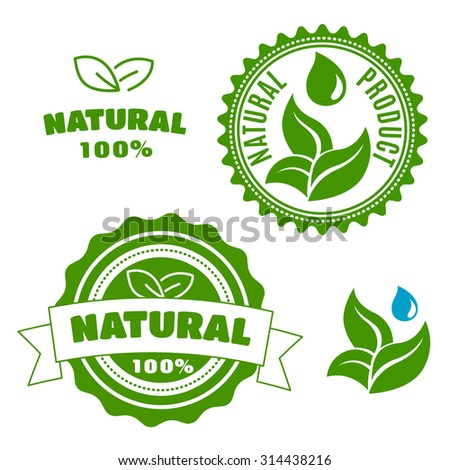 Natural product labels and badges with sappy green leaves, water drops and ribbon banner. For retail industry design