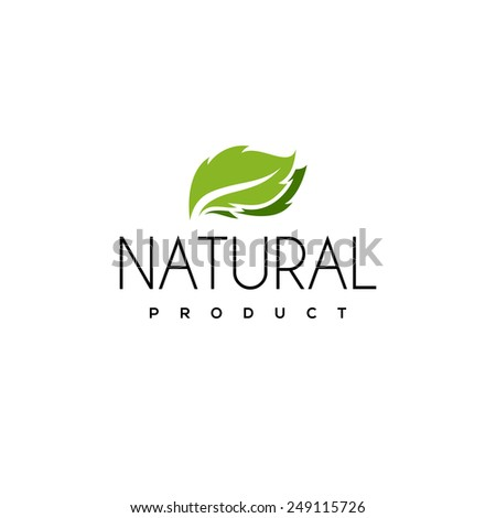 Natural product logo design vector template with leaf - stock vector