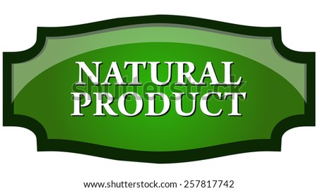 Natural Product Sticker, Vector Illustration isolated on White Background. - stock vector