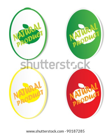 Natural product stickers. Vector.