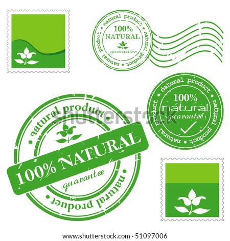 NATURAL PRODUCT written inside the stamp. Green grunge rubber stamp with the text.