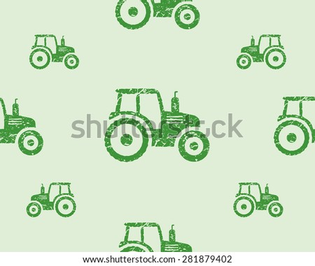 Natural products seamless pattern, farm fresh, eco design. Green tractor. Vector illustration - stock vector