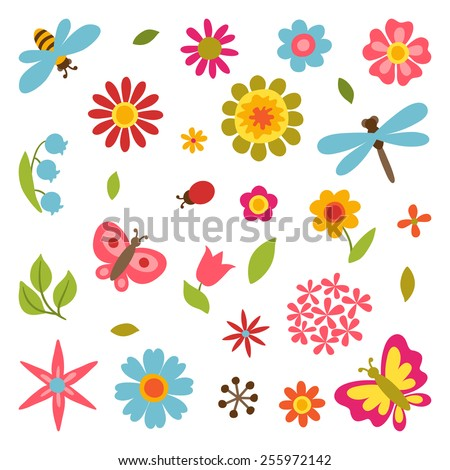 Natural set of beautiful simple flowers, beetles and butterflies. - stock vector