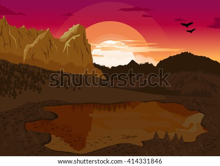 natural summer landscape with mountain lake and silhouette of the birds at dawn - stock vector