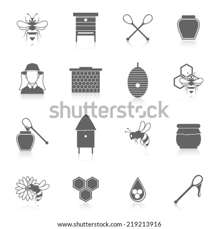 Natural sweet liquid bee honey icons black set isolated vector illustration - stock vector