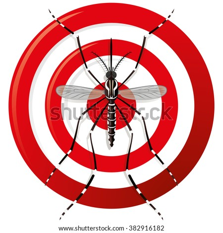 Nature, Aedes Aegypti mosquitoes stilt with sight signal or target, top view. Ideal for informational and institutional related sanitation and care - stock vector