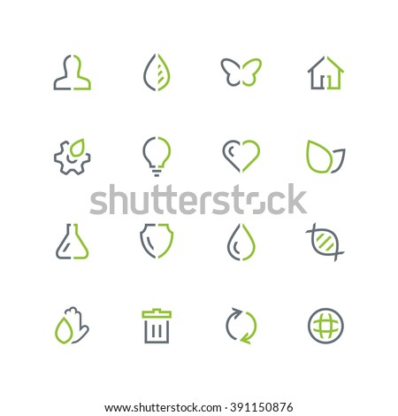 Nature and ecology vector icon set - outline colored symbols on the white background. - stock vector