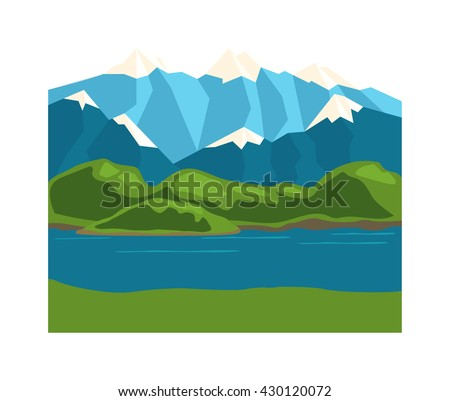 Nature background mountains under mist morning and nature background vector illustration. Nature background summer forest and spring mountains plant park green grass and beautiful environment river. - stock vector