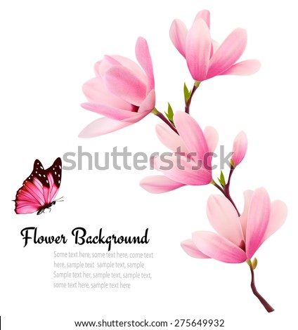 Nature background with blossom branch of pink flowers and butterfly. Vector - stock vector