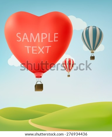 Nature background with colorful air balloons and green land. Vector illustration - stock vector