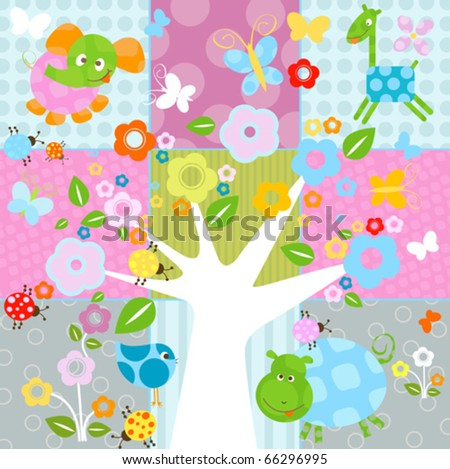 nature background with flowers and animals - stock vector