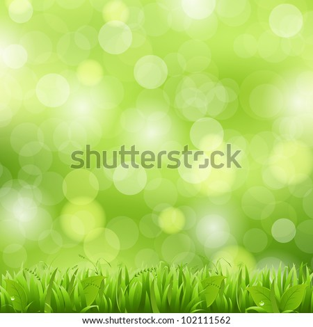 Nature Background With Grass And Bokeh, Vector Illustration - stock vector