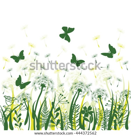 Nature background with green grass, wild herbs,,dandelions and butterflies on white backdrop - stock vector