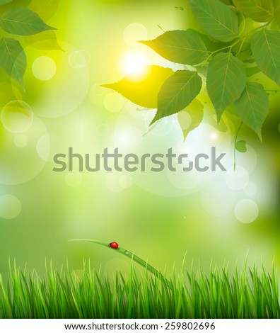 Nature background with green spring leaves. Vector illustration. - stock vector
