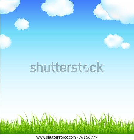 Nature Background With Sunburst And Flowers, Vector Background - stock vector
