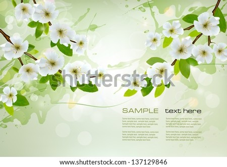 Nature background with white blossoming branches. Vector. - stock vector