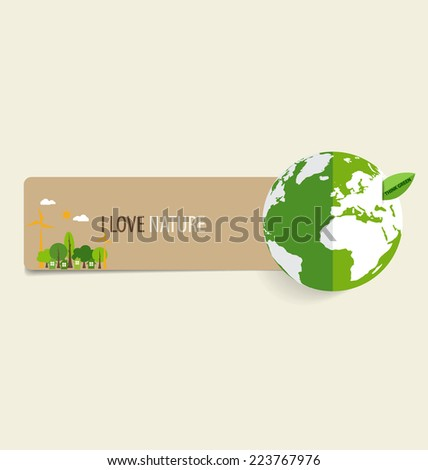 Nature banner, Paper with Green Eco Earth, vector illustration. - stock vector