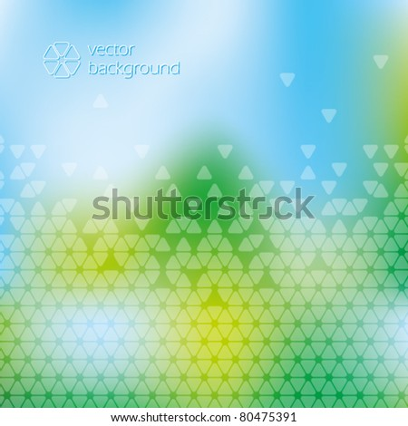 Nature blue green abstract background with cells - stock vector