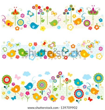 nature borders with birds, butterflies, flowers mouse, cute colorful elements - stock vector