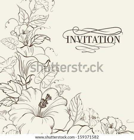 Nature card with blooming hibiscus. Vector illustration. - stock vector
