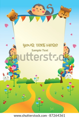 nature cartoon party card you can put your text on the banner