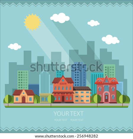 Nature - City summer street urban town scape. Houses outside the city on the background of the city. flat design illustrations - stock vector
