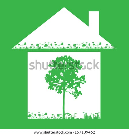 nature concept with abstract house and green ecology