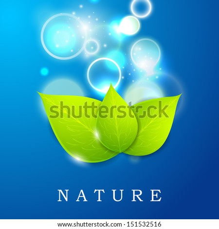 Nature concept with green leaves in blue water. - stock vector