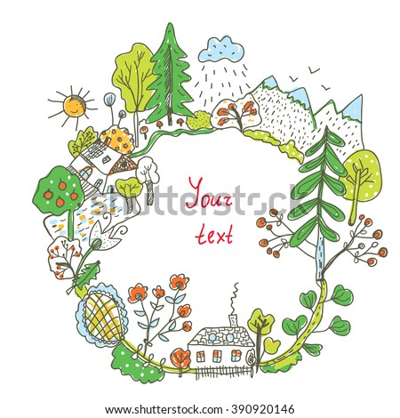 Nature doodle frame with trees, flowers, village - vector illustration - stock vector