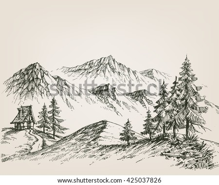 Nature drawing, a hut in the mountains - stock vector