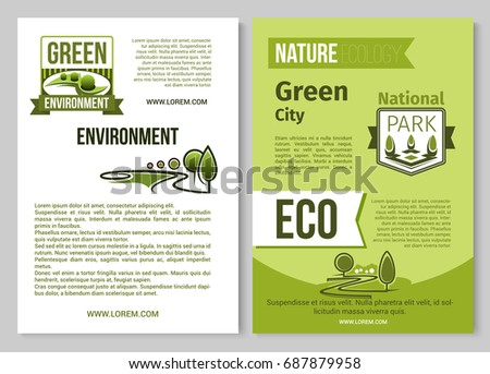 nature ecology and green environment posters or brochure template vector design of eco planting