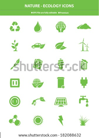 Nature & Ecology icons,Green version,vector - stock vector