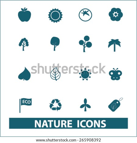 nature, ecology icons, signs, illustrations design concept set for appliciation, website, vector on white background - stock vector