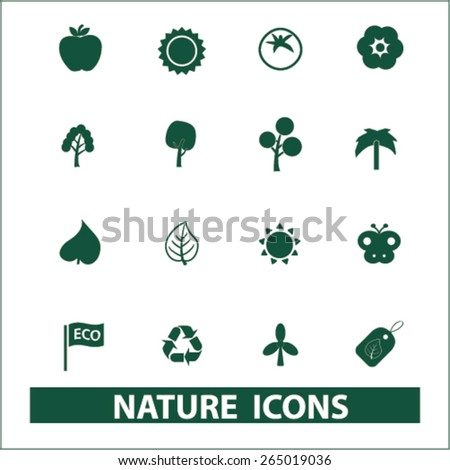 nature, ecology icons, signs, illustrations set, vector - stock vector