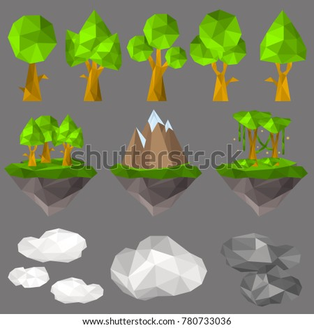 Nature elements in polygon style color icons set on black background